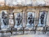 Several Yogini carvings at Chausath Yogini Temple in India.