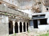 Side part of the courtyard at Jhalawar Palace, India.
