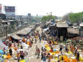 Mallick Flower Market Ghat in Kolkata, India.