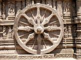 Carved chariot wheel at Konark Sun Temple, India.