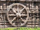Beautifully carved Konark Sun Temple Chariot Wheel, India.