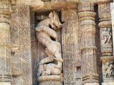 Lion carving amongst the pillars at Konark Sun Temple, India.