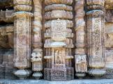 Nicely carved temple pillars at Konark Sun Temple, India.