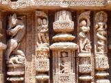 Several of the carvings which adorn Konark Sun Temple, India.
