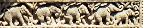 Small elephant carvings at Konark Sun Temple, India.