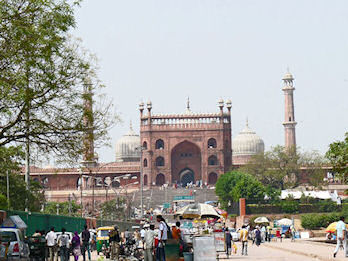 Appraches to Jama Masjid Mosque in Delhi, India.