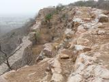 Partly collapsed walls at Chittorgarh Fort.